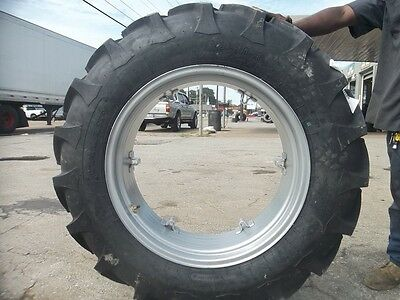 Two 12.4x28 12.4-28 8 Ply International B275 Tractor Tires On 6 Loop Wheels