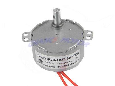 Small Electric Ac Motor Tyd50 Synchronous Motor 110v Ac 2-2.4rpm 4w Cwccw