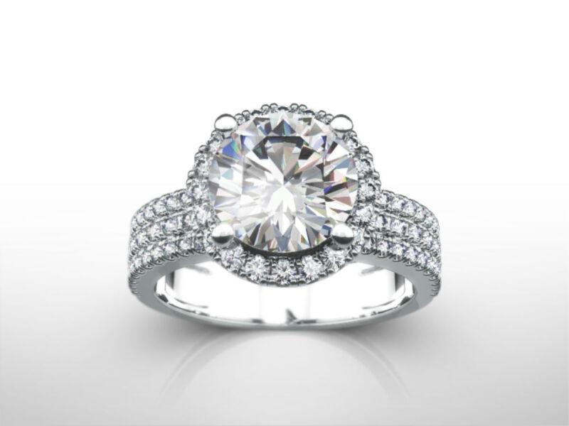 Classic 4.00 Carat D Vs1 3 Rows Round Diamond Ring 18 Karat White Gold