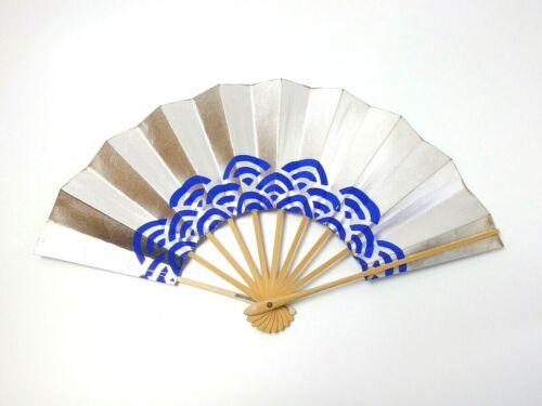 Japanese antique vintage silver blue Maisen Ougi Sensu folding fan chacha