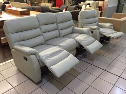 BRAND NEW 3 SEATER LEATHER LOUNGE W/2 RECLINERS + SINGLE RECLINER Logan Central Logan Area Preview