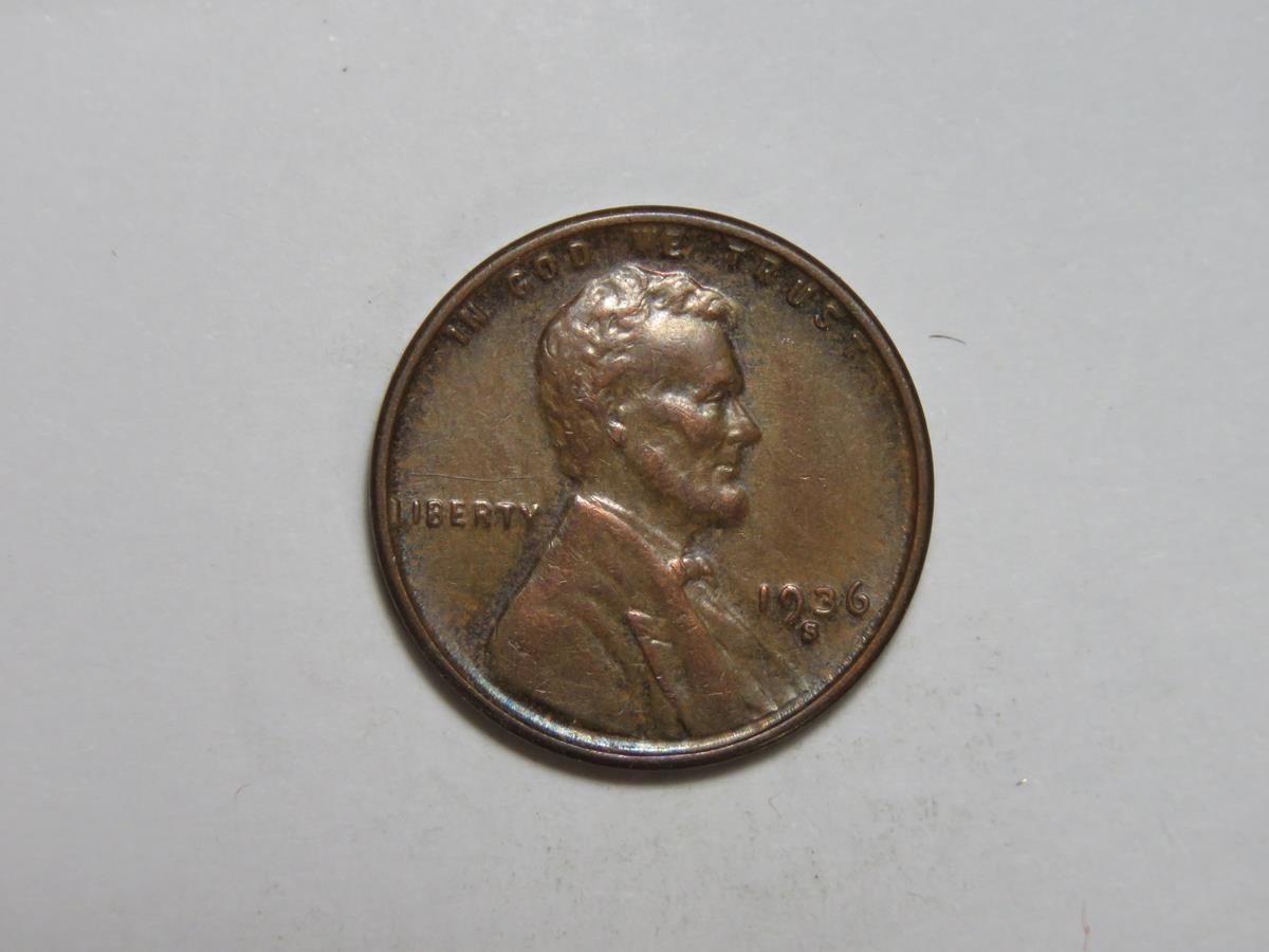1936-S Lincoln Wheat Cent - $7.95
