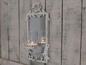 Chic Antique Kerzenleuchter Wandspiegel Patina Nostalgie Shabby Brocante Vintage