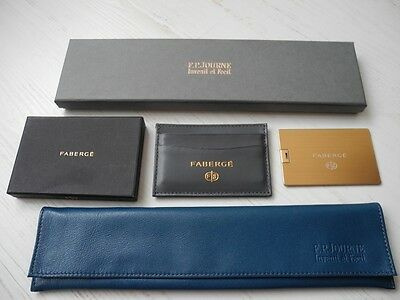 AUTHENTIC RARE SET F.P.JOURNE WATCH JEWELRY LEATHER CASE+FABERGE CARD HOLDER/NEW