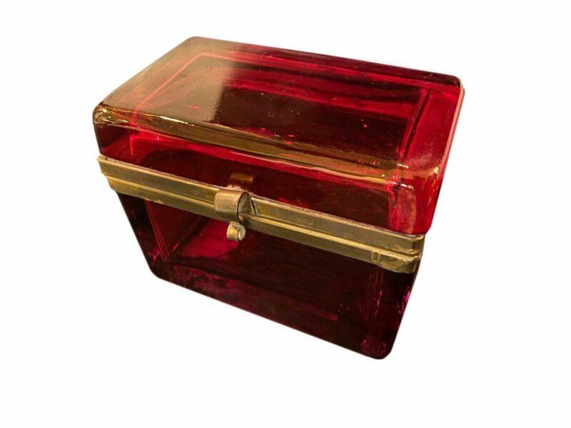 French Ruby Red Opaline Glass Dresser Box