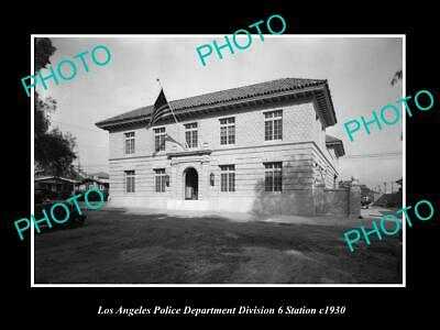 OLD POSTCARD SIZE PHOTO OF LOS ANGELES POLICE DEPARTMENT STATION Div 6 c1930