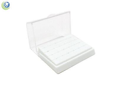 Dental Fg Bur Block Holder Station Plastic Holds 24 Fg Burs - White 116 Shaft