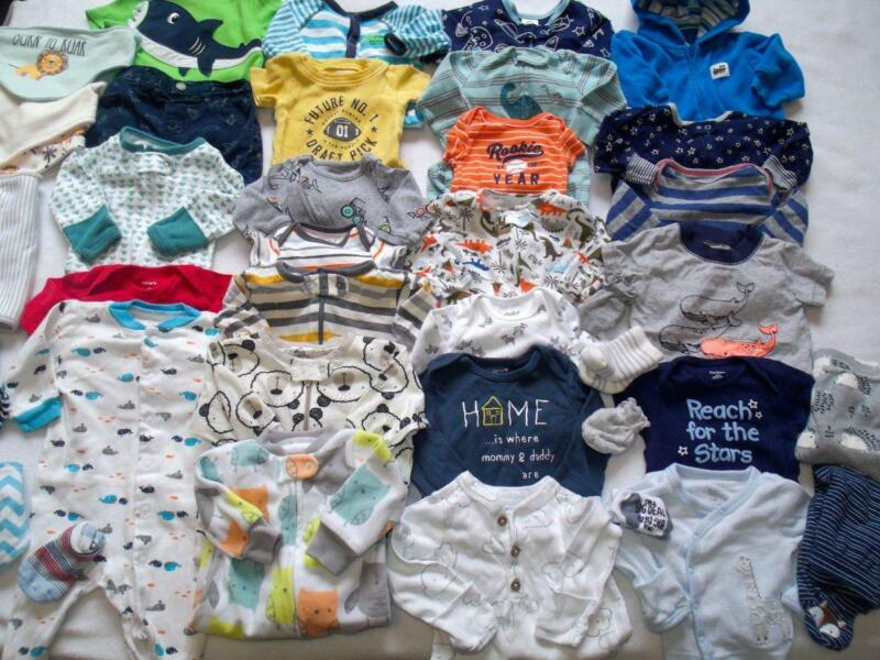 Baby Boy Newborn 0-3 3 Months Spring Summer Clothes Outfits Sleepers 34pc Lot!