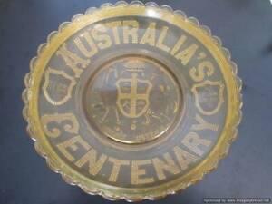 67.  RARE Amber / yellow glass - Australian Centenary Bowl / dish