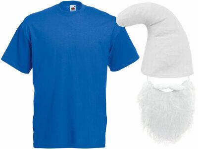 Schlumpf Kostüm Zwergen  (Kv-141) blaues T-Shirt weiße Zwergenmütze und Bart