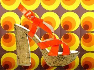 S24✪ 60er 70er Jahre Hippie Lack Plateau Schuhe Kork Riemchen Sandale neonorange
