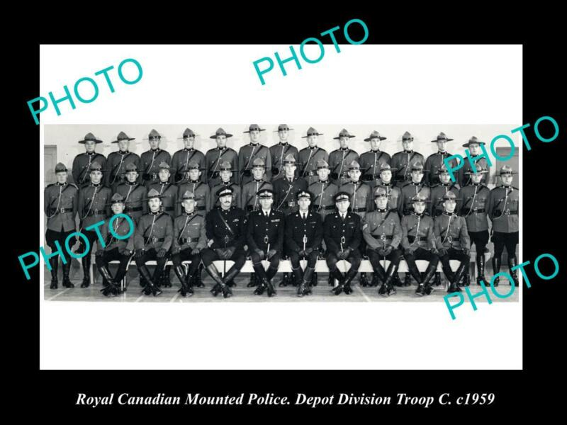 OLD POSTCARD SIZE PHOTO OF ROYAL CANADIAN MOUNTED POLICE DEPOT DIVISION c1959