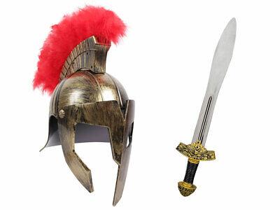 Römer Krieger Kostüm (Kv-155) - Ritterschwert 56 cm, goldener Gladiatoren Helm - Goldene Krieger Kostüm
