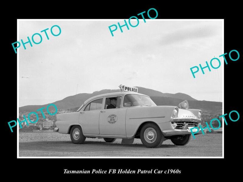 OLD LARGE HISTORIC PHOTO OF TASMANIAN POLICE FB HOLDEN PATROL CARS c1960s