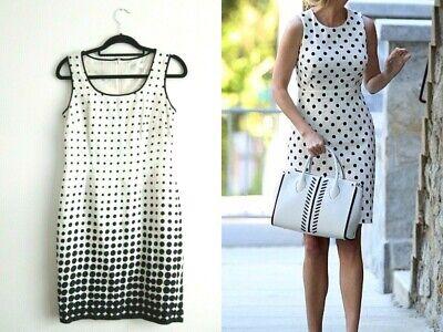 Precis Petite White Linen Polka Dot Dress Size 8 Sleeveless Ivanka Trump Style