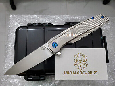 custom made specter m390 blade titanium handle flipper tactical pocket knife nib