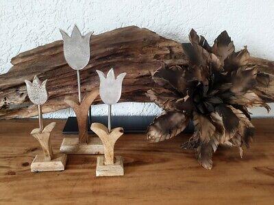Osterdeko Blumendeko Tulpe Metall Mangoholz Tischdeko ()