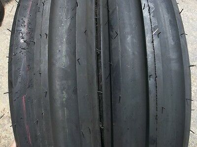 Two 750x18 750-18 Eight Ply Triple Rib Tractor Tires With Tubes