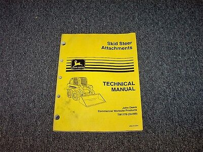 John Deere Backhoe 850 900 911 Skid Steer Attachment Repair Shop Manual Tm1779