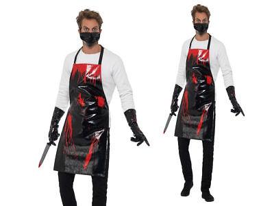 Metzger Halloween-kostüm (Blutige Schürze Herren Chirurg Metzger Kostüm Halloween Outfit + Maske)