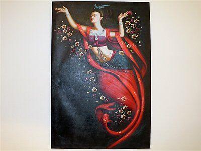 Ölbild schöne chinesische Frauen Ölgemälde handgefertigte 60x90x2 B0021