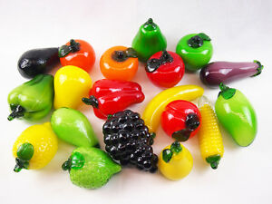 1 x Art Glass Fruit Vegetable home Deco green red yellow banana apple Brand new