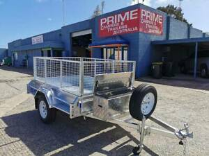 7x5ft Trailer w/ Toolbox, Spare Tyre, Tyre Bracket and 600mm Cage Wingfield Port Adelaide Area Preview