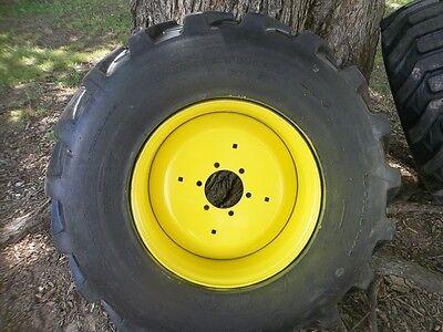 Two 15x19.5 6 Ply R4 4400 John Deere Backhoe Farm Tractor Tires W 6 Hole Rims