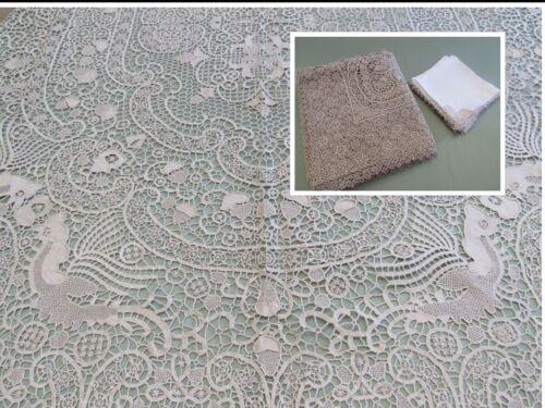 Antique Lace Tablecloth w/ 10 Napkins / Lapkins POINT DE VENICE Linen