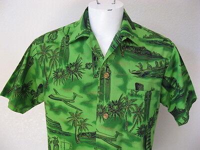 Vintage 60s Fashions of Hawaii Green Hula Tiki Aloha Airlines Hawaiian Shirt