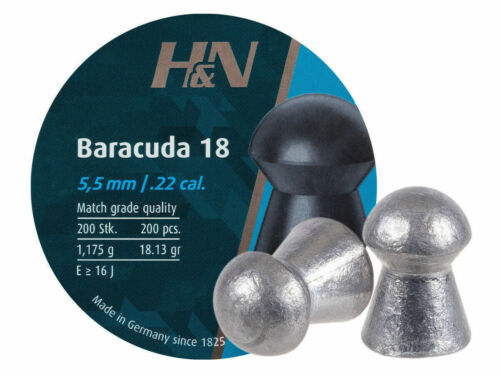 H&N Baracuda 18, .22 Cal, 18.13 Grains, Round Nose, 200 Pellets, Free Shipping!!