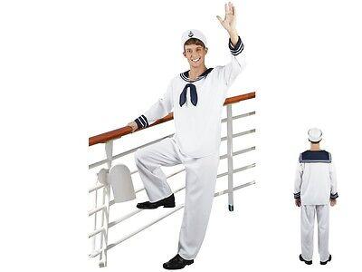 Déguisement complet de marin Homme adulte haut bleu et blanc pantalon casquette