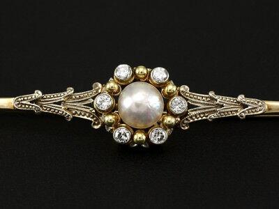 Antike Diamant Perle Stabbrosche ca. 0,25ct   585/- Gelbgold