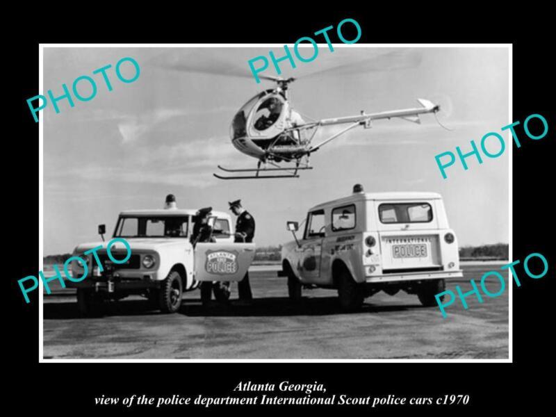 OLD LARGE HISTORIC PHOTO OF ATLANTA GEORGIA POLICE INTERNATIONAL SCOUT CAR 1970