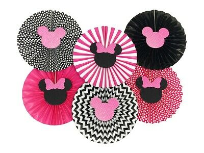 Minnie Mouse Pink and Black Paper Fans, Birthday Baby Shower Party Decorations - Pink And Black Baby Shower Decorations
