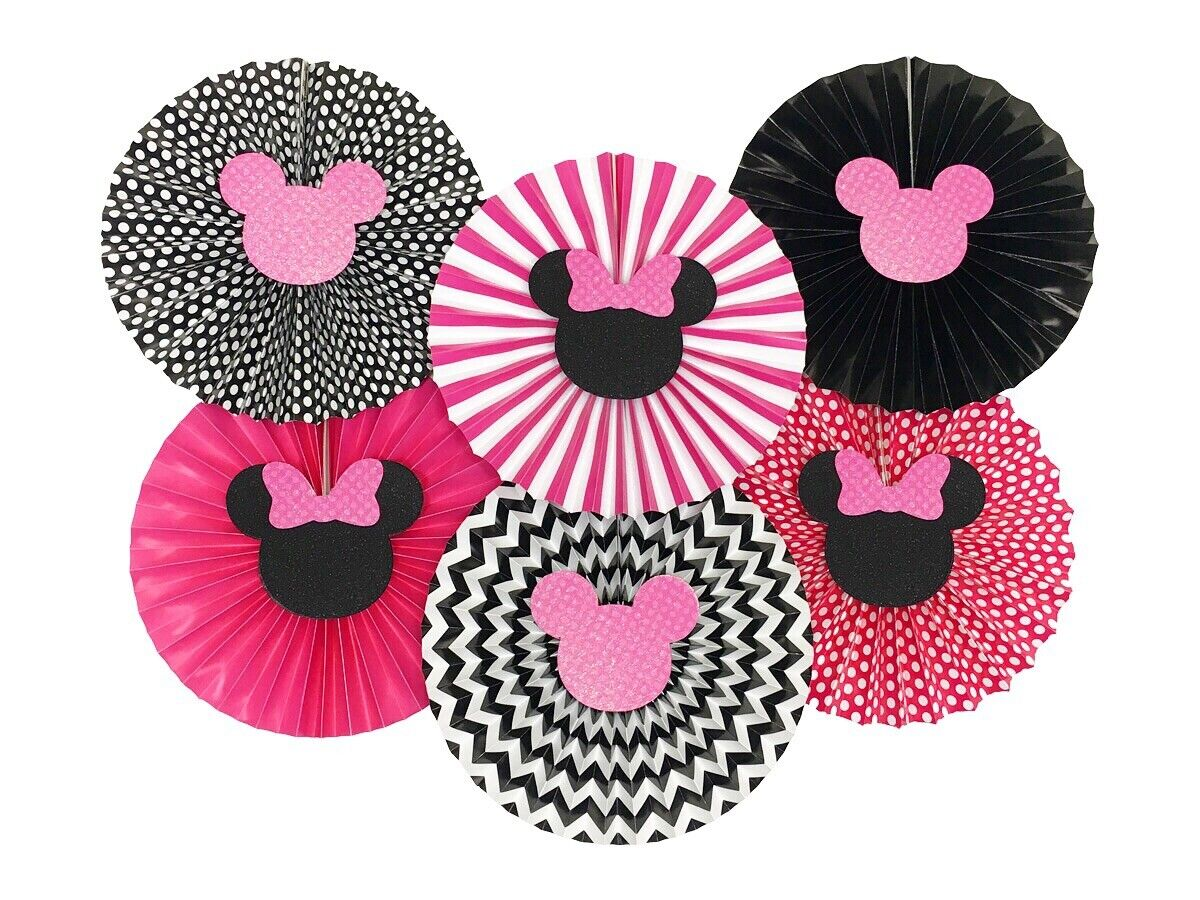 Minnie Mouse Pink and Black Paper Fans, Birthday Baby Shower