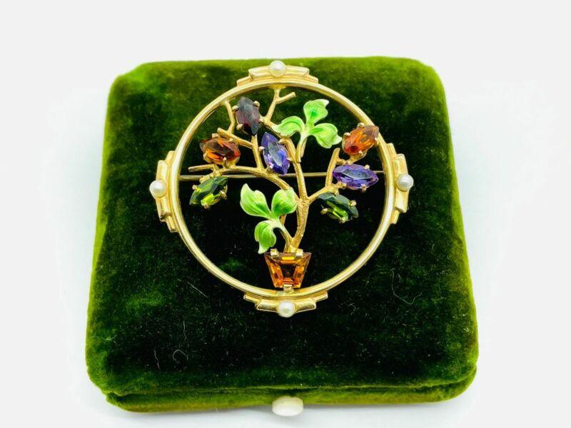 Super Rare Krementz 14K Gold Enamel Citrine Tourmaline Flower Bouquet Pin Brooch