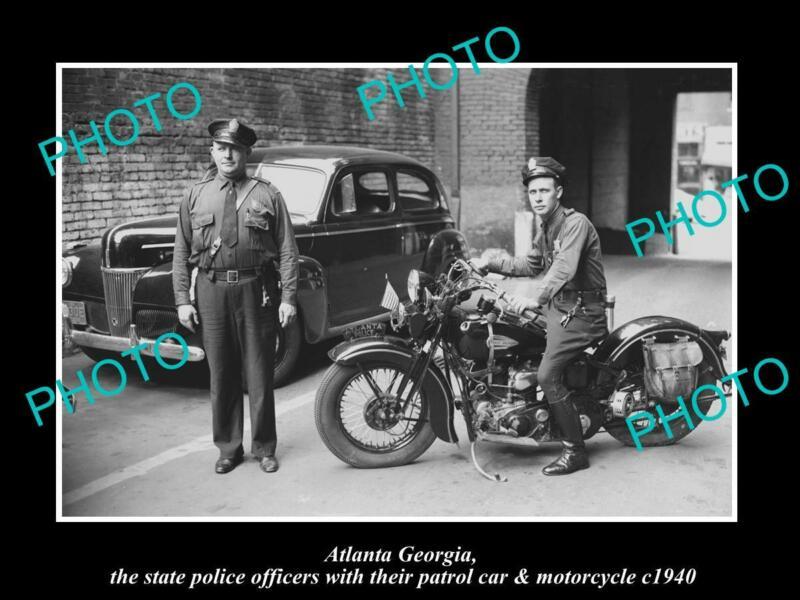OLD POSTCARD SIZE PHOTO OF ATLANTA GEORGIA POLICE PATROL CAR & MOTORCYCLE 1940