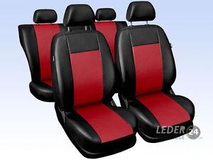 PEUGEOT-5008-coche-FUNDAS-DE-ASIENTO-cuero-artificial-universal-negro-rojo