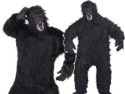 Pelzig Affe Gorilla Affe Neuheit Anzug Erwachsene Maske Herren Kostüm Outfit