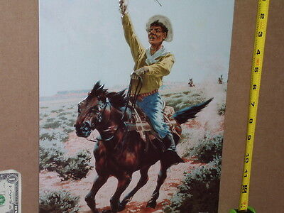 UNION CARTRIDGE Cowboy Riding To Save Life-Chased By Indians -OLD SIGN Dated1993