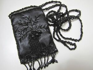 NWOT BLACK SATINY SEED BUGLE BEADS EMBROIDERY POUCH CELL PHONE HOLDER BAG PURSE