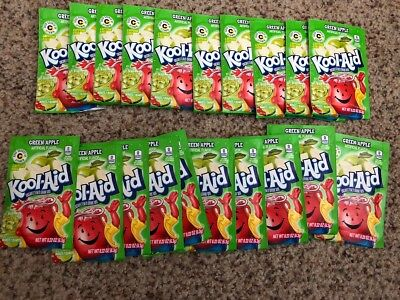 20 Packs of Kool Aid GREEN APPLE Flavor Drink Mix Packet NEW Free Shipping