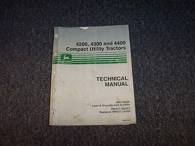 John Deere 4200 4300 Compact Utility Tractor Service Shop Repair Manual Tm1677