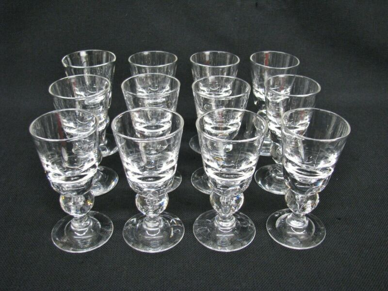 12 Steuben 7877 Baluster Teardrop Crystal Wine Glasses 5 1/4 ; Marshall Fields