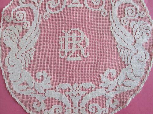 ANTIQUE FIGURAL LACE DOILIES 4 NUDE WOMEN Cupid Angel Italian Monogram Filet Lot