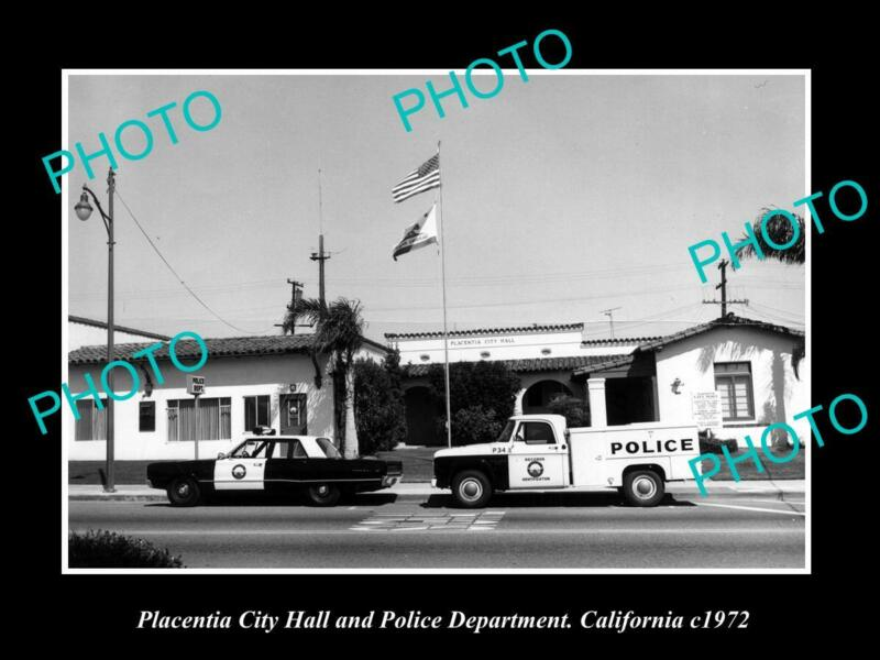 OLD POSTCARD SIZE PHOTO OF PLACENTIA CALIFORNIA THE POLICE STATION c1972