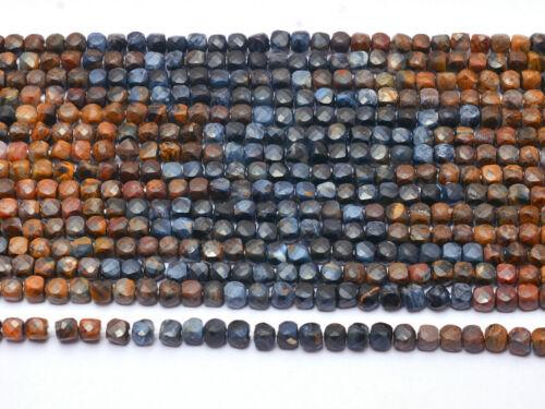 "Rare Pietersite Gemstone 4mm Faceted Cube Beads Semi Precious Gemstone 13""Strand"