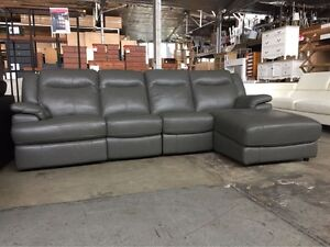 TUD LEATHER 4S CHAISE SOFA - ELECTRIC RECLINER Granville Parramatta Area Preview