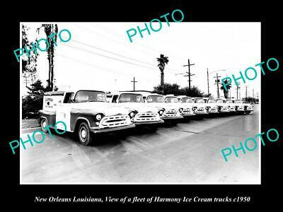 OLD 6 X 4 HISTORIC PHOTO OF NEW ORLEANS LOUISIANA, HARMONY ICE CREAM TRUCKS 1950
